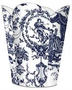 WB435-Navy Toile Wastepaper Basket