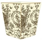 WB546-Brown & Creme Toile Wastepaper Basket