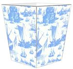 WB548-Blue Boat Toile Wastepaper Basket