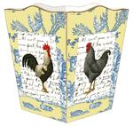 WB558-Roosters on Blue & Yellow Toile Wastepaper Toile
