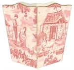 WB564-Pink Farm Toile Wastepaper Basket