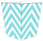WB8052 - Aqua Chevron Grande Personalized Wastepaper Basket