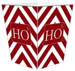 WB8065 - Ho to the 3rd Power Red Chevron Grande Personalized Wastepaper Basket