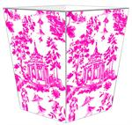 WB8391 - Chinoiserie Pagoda in Pink Wastepaper Basket