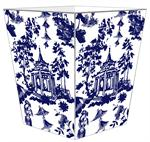 WB8392 - Chinoiserie Pagoda in Blue Wastepaper Basket