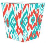 WB8414 - Coral and Turquoise Ikat Wastepaper Basket