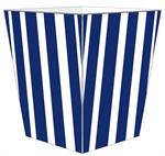 WB8416 - Navy Stripe with Orange Monogram  Wastepaper Basket