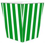 WB8418 - Green Stripe with Navy Monogram  Wastepaper Basket