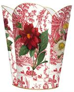 WB842-4 Different Red Flowers on Red Toile Wastepaper Basket