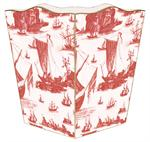 WB857 - Red Boat Toile Wastepaper Basket