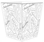 WB8616 - Word Collage Script Fonts Wastepaper Basket