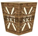WB8707-Eat Drink Ski Wastepaper Basket