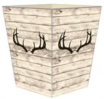 WB8766-Deer Horns on Butternut Wood Wastepaper Basket