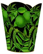 WB8889- Limes on Black Tin Wastepaper Basket