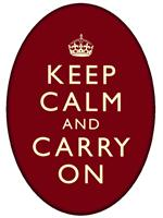 PW1730-Keep Calm And Carry On Red Oval Flat Paperweight