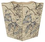 WB1455- Antique Great Lakes Map Wastepaper Basket