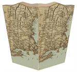 WB1480-Antique Northeast Map Wastepaper Basket